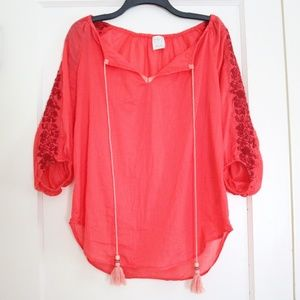 Anthropologie Coral Embroidered Tunic